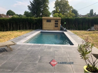 carrelage sur plot piscine